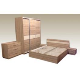 KOPA miegamojo komplektas, spinta, lova, komoda, spintelė