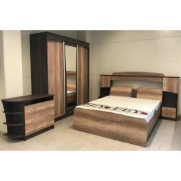 RUNS miegamojo komplektas ( spinta, komoda, spintelė, lova)