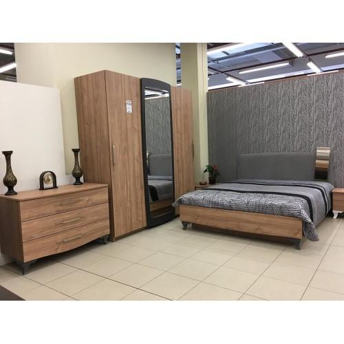 ASTORIA miegamojo komplektas, lova, spintelė, komoda, spinta