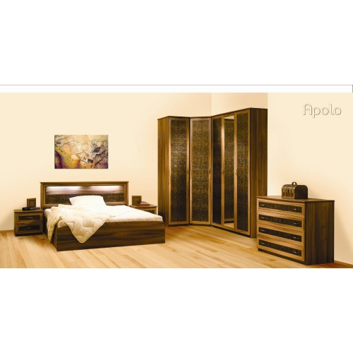 APOLO miegamojo komplektas,lova, spintelė, komoda, spinta, kampinė spinta